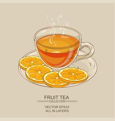 cup of orange tea vector image