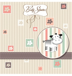 cute baby shower card with zebra vector image
