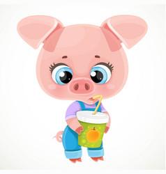 Cute cartoon baby piglet drinks juice from vector