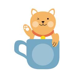 cute cat in mug cartoon vector image