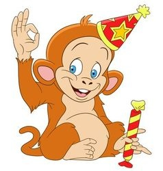 Cute funny xmas monkey vector