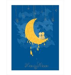 Cute honeymoon postcard vector