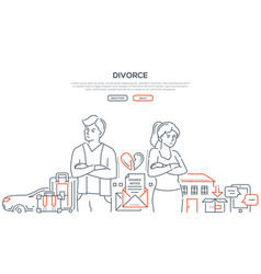 Divorce - thin line design style banner vector