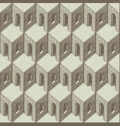 drawn geometric seamless pattern in retro style vector image