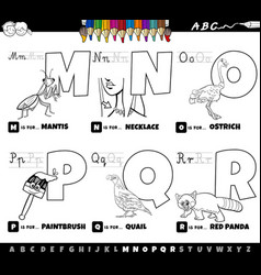 educational cartoon alphabet letters set from m vector image