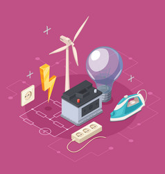 electricity isometric concept vector image