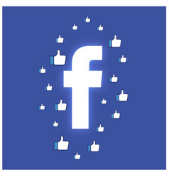 Facebook neon button with like thumb around the vector