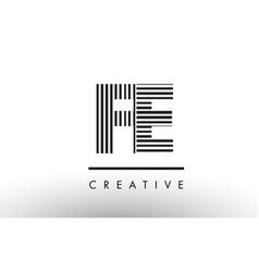 Fe f e black and white lines letter logo design vector