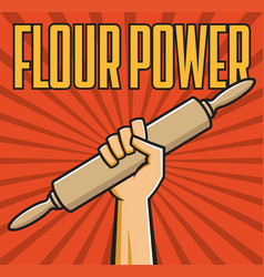 Flour power badge fist with rolling pin vector