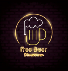 Free beer neon lights icon vector