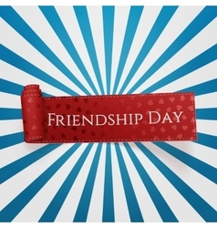 Friendship Day red curved Ribbon vector