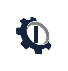 gear logo letter i vector image