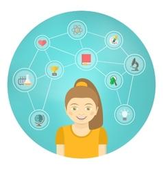 Genius Girl Interests Conceptual Infographics vector