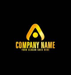 golden letter a emblem with black background vector image