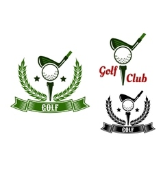 Golf club emblems with first stroke from tee vector image