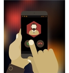 Hand answering to call on mobile device vector