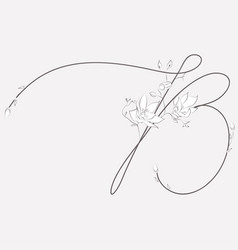 Hand drawn floral b monogram and logo vector