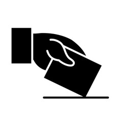 Hand with polling card icon silhouette style vector