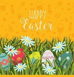 happy easter greeting card banner eggs in grass vector image