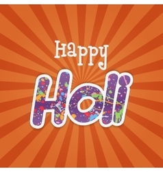 Happy Holi paper Word with Color Stains of Paint vector