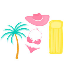 inflatable mattress palm tree female swimsuit hat vector image