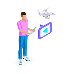 Isometric of a young man shoots video with drone vector