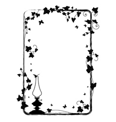 Ivy frame with kerosene lamp vector
