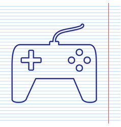 Joystick simple sign navy line icon on vector