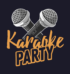 karaoke party music design with microphones vector image