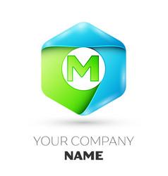 letter m logo symbol in colorful hexagonal vector image
