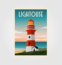 lighthouse background template poster design vector image