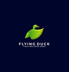 logo duck flying gradient colorful style vector image