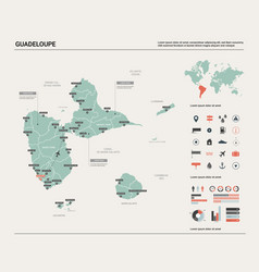 map guadeloupe high detailed country map with vector image