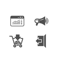 Megaphone shopping and web traffic icons sign vector