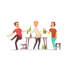 men drink beer drunk friends characters vector image