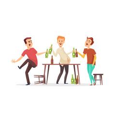Men drink beer drunk friends characters vector