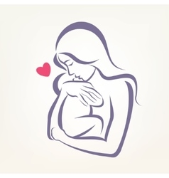 Mom and bastylized symbol outlined sketch vector