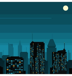 Night city with moon vector image