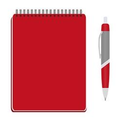 Notebook and ball pen vector