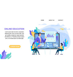 Online education horizontal banner with copy space vector