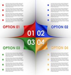 Options progress of colorful bent corners vector image