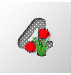 Paper cut number 4 with poppy flowers vector