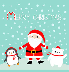 penguin white polar bear santa claus wearing red vector image