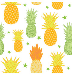 Pineapples and stars background seamless vector