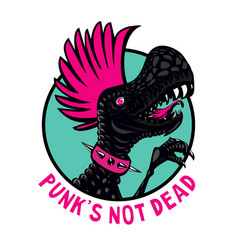 Punk dinosaur with pink haircut cartoon character vector