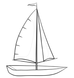 Sailing boat contours vector