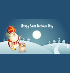 Saint nicholas is coming to town - winter scene vector