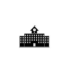 School building icon simple flat sign black vector
