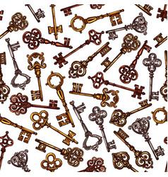 seamless pattern of sketch vintage keys vector image