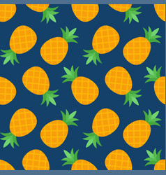 seamless pineapple pattern on blue background vector image